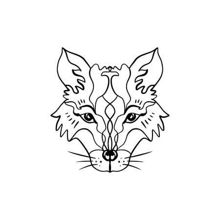 Beautiful totem wolf or fox, boho hippie illustration for sketches of tattoos. Northen style, sticker. Antistress art. Good for t-shirts design, bags, phone cases, room posters, postcard and web