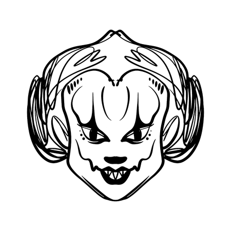 Evil horrible clown art. Halloween mask illustration. Clipart, editable details. Unique print for posters, cards, mugs, clothes and other. Coloring page Illustration