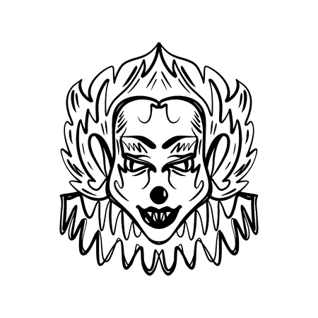 Evil horrible clown art. Halloween mask illustration. Clipart, editable details. Unique print for posters, cards, mugs, clothes and other. Coloring page