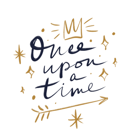 Lettering Once upon a time. Magic art. Neon luminous lines. Decor element, print for your stuff and graphic design. Good for gift card and kids products