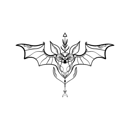 Bat tribal vector ornate elegant tattoo. clipart