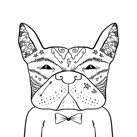 Portrait of handsome stylish dandy dog hipster. French bulldog. Sketch doodle style illustration. Coloring page element. Vector clipart