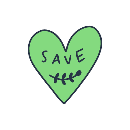 Hand drawn green heart label or logo with text. Ecology and environment conservation theme, with love, save nature concept. Earth Day badge. Vector illustration