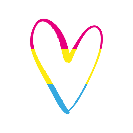 Pansexual pride flag, form of heart symbol logo. Sexual minorities, gays and lesbians. Freedom concept poster. Vector illustration  イラスト・ベクター素材