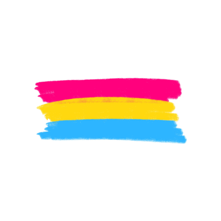 Pansexual movement lgbt symbol color isolated flag. Sexual minorities, gays and lesbians. Grunge brush paint. Freedom concept. Vector illustration