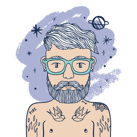 Astronaut, spaceman. Portrait of handsome stylish tattooed casual dandy man, hipster with beard. Space, galaxy and planets. Creative mind. Sketch doodle style. Vector EPS clipart Illustration