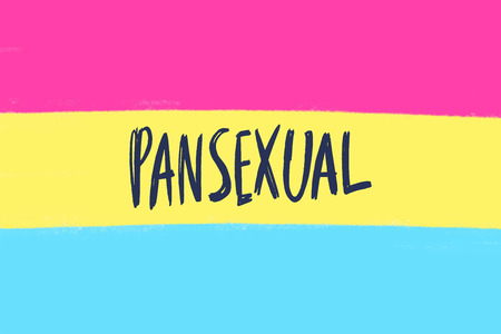 Pansexual movement lgbt symbol color flat flag with text. Sexual minorities, gays and lesbians. Freedom concept poster. Lettering. Vector illustration
