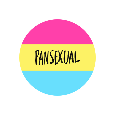 Pansexual movement lgbt symbol color flag. Sexual minorities, gays and lesbians. Freedom concept circle badge with text. Vector illustration