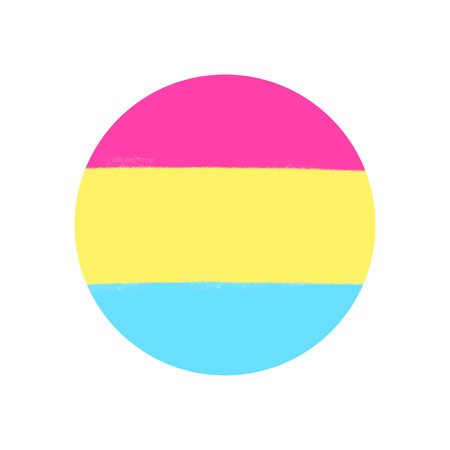 Pansexual movement lgbt symbol color flag. Sexual minorities, gays and lesbians. Brush pastel colors. Freedom concept circle badge. Vector illustration
