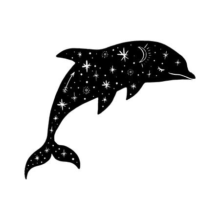 Vektor gemusterter Polardelfin, Mond und Sterne, Weltraumkonstellationen. Schöner onamentaler Tierdruck, Nordlichter. Märchenhafte Fantasieillustration Vektorgrafik
