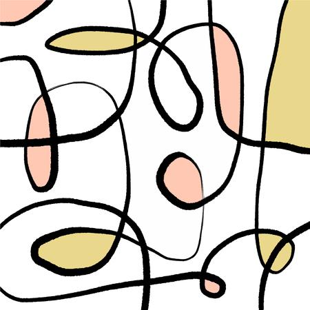 Vector illustration. Mid century modern abstract line art. Nordic interior design. Poster and print, scandinavian style