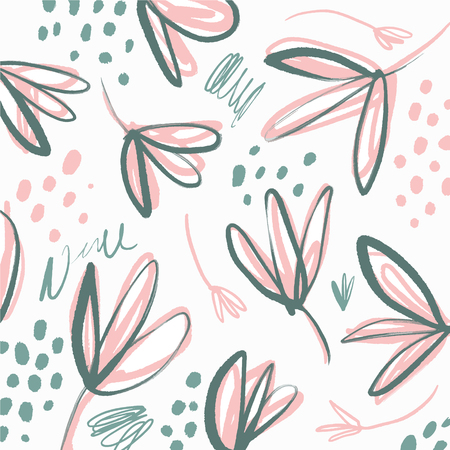 Vector universal floral banner or header, tropical leaves. Modern art. Hand drawn brush textures. Good for web, poscards, posters, invitations, brochures templates and covers