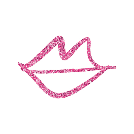 Glitter texture pink lips outline symbol. Picture, label, print, postcard and other, element for design. Isolated 向量圖像