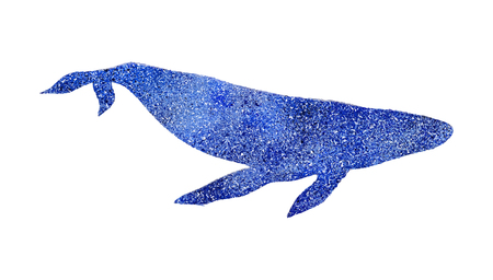 Glitter texture blue whale outline symbol. Picture, label, print, postcard and other, element for design. Isolated Ilustração