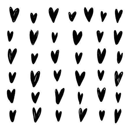 Vector hand drawn modern stylish poster with pattern in scandinavian style, hearts elements. Home apparel, brush strokes print, abstract shapes, trendy painting. Banner and placard Çizim