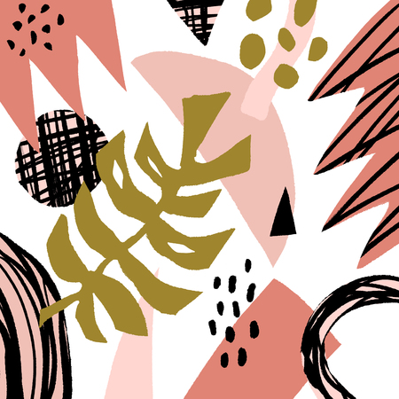 Vector hand drawn modern stylish poster with pattern in scandinavian style, floral elements. Home apparel, brush strokes print, abstract shapes, trendy painting. Banner and placard