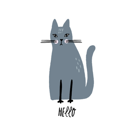 Hello text. Vector nursery lettering doodle poster and postcard with cute cat in scandinavian style, children illustration, cute animals art Stock fotó