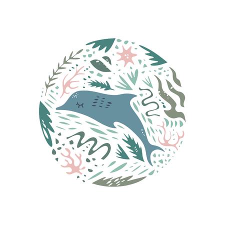 Cute dolphin, hand drawn color vector circle pattern. Ocean character cartoon style. Sketch sea animals. Web, label, decor apparel 矢量图像