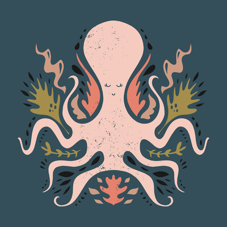 Vector hand drawn octopus, clip art illustration, vintage ethnic style, stylized sea animal