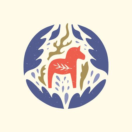Swedish Dala red horse in the pattern, scandinavian folk design, floral ornament. Logo or label. Dalecarlian vector, clip art