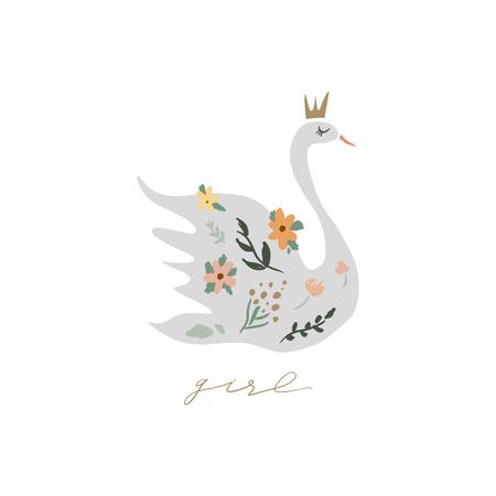 Swan lake. Lettering calligraphy. Girl princess, greeting card poster and postcard, vector image. Clip art Illusztráció