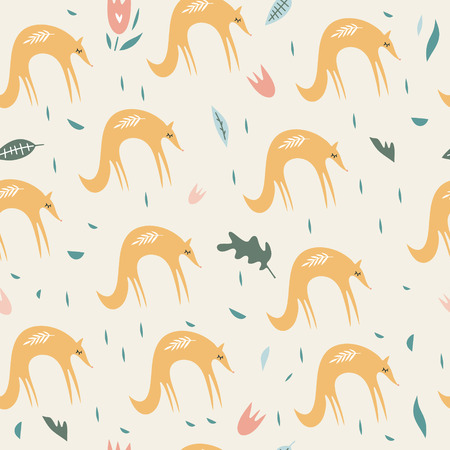 Cute foxes seamless pattern. Orange foxes on floral background. Good for print, wrapping paper, textile, fabrics, wallpaper, decor. Foxes silhouettes