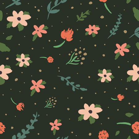 Beauty floral pattern vector image, clip art. Adorable wildflowers on dark background. Hand draw texture, template