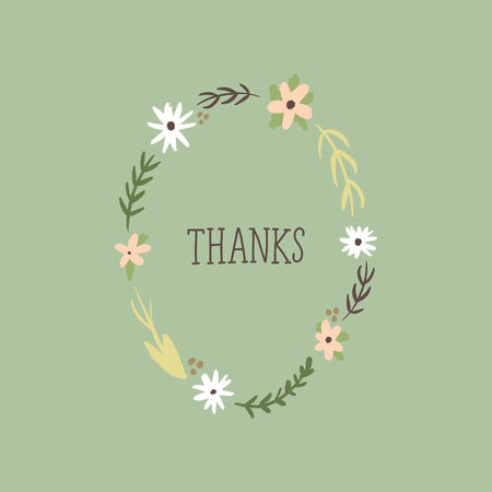 Elegant card, thanks text with hand painted pattern, wild flowers. Doodle floral summer design for holidays. Poster or postcard. Vector, clip art Vector Illustratie