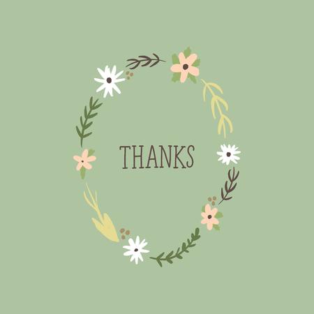 Tarjeta elegante, texto de agradecimiento con patrón pintado a mano, flores silvestres. Doodle diseño floral de verano para vacaciones. Póster o postal. Vector, imágenes prediseñadas Ilustración de vector