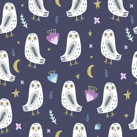 The snowy owl art seamless pattern, pajama party, cute bohemian white polar bird, drawing with floral decor, hand drawn vector illustration for cards, posters, t-shirts and more