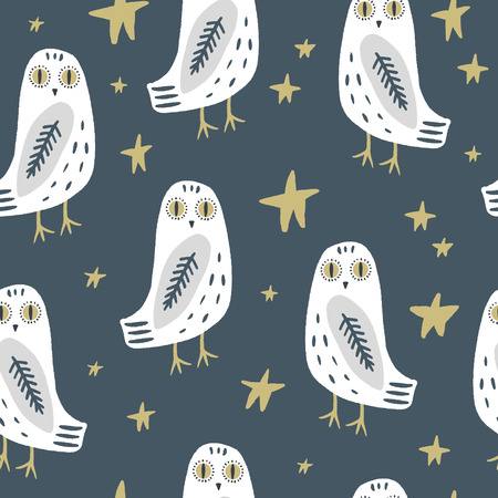 The snowy owl art seamless pattern, pajama party, cute bohemian white polar bird, drawing with floral decor, hand drawn vector illustration for cards, posters, t-shirts and more Stockfoto - 123586259