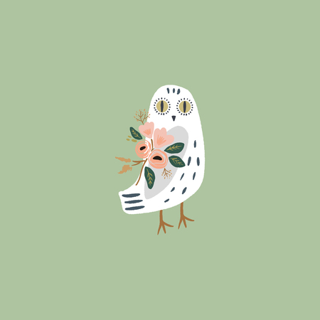 The snowy owl art, pajama party, cute bohemian white polar bird, drawing with floral decor, hand drawn vector illustration for cards, posters, t-shirts and more
