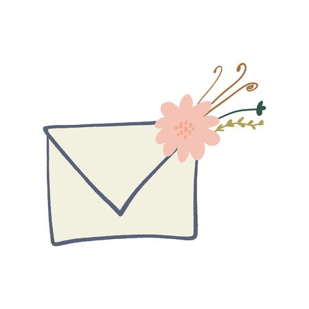 Envelope letter with floral elements symbols, spring or summer greeting card. Vector clip art