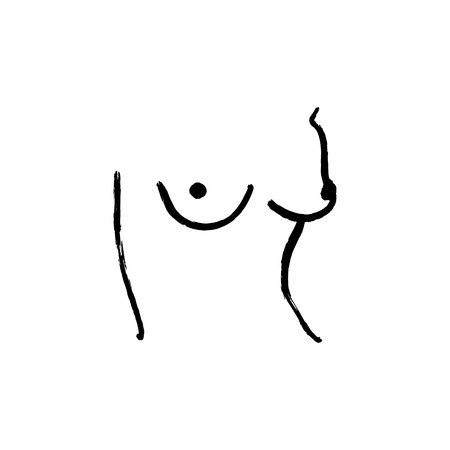 Nude art line drawing one line nude sketch. Figure interior design wall art. Vector EPS Çizim