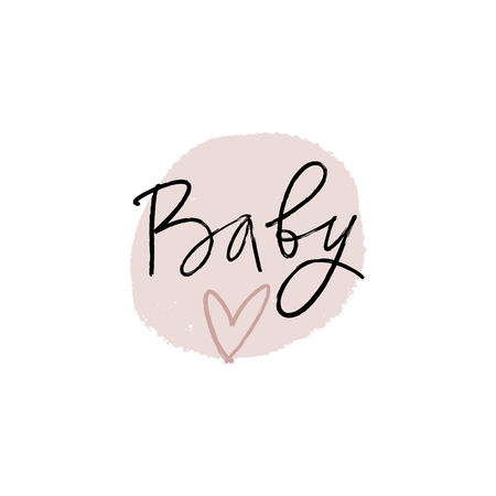 Hand lettered baby shower label, lettering. Stylish print for posters, cards, mugs, clothes and other. Vector Illustration, clipart. Isolated on white background