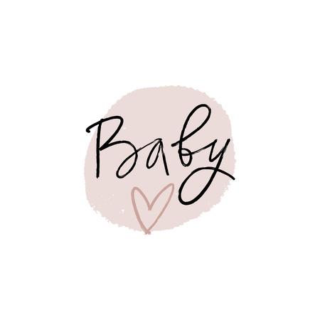 Ręcznie tłoczona etykieta baby shower, napis. Stylowy nadruk na plakaty, karty, kubki, ubrania i inne. Ilustracja wektorowa, clipart. Na białym tle