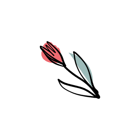 Modern flower ink sketch with abstract shapes. Vector Clip Art Vector Illustration