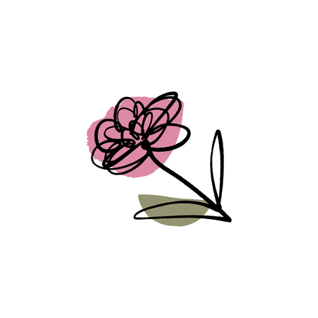 Modern flower ink sketch with abstract shapes. Vector Clip Art