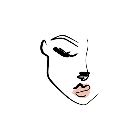Line drawn black and white trendy face silhouette. Abstract contour. Print for clothes, textile and other. Иллюстрация