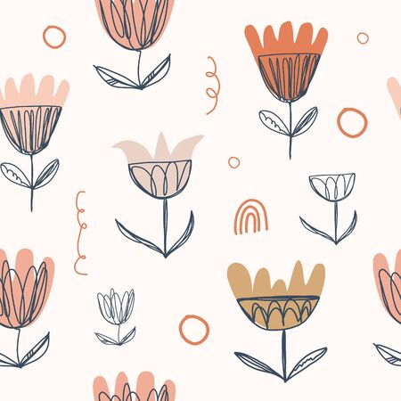 Modern pastel seamless nursery pattern in scandinavian style. Nordic graphic design, unique stylish print for interior, clothes and other decor.