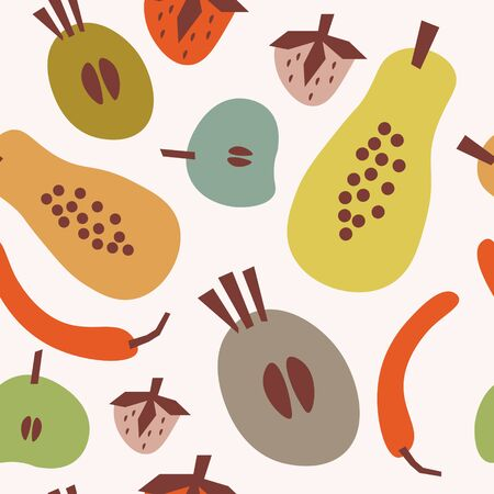 Flat seamless pattern with papaya, red pepper, other fruits and spice. Summer food tropical background. Illustration