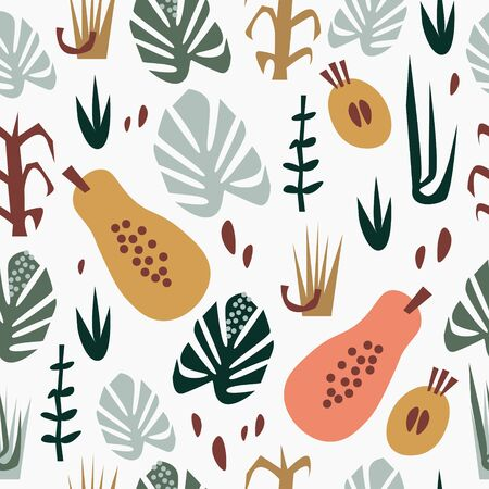 Hand drawn flat seamless pattern with papayas, other fruits and leaves. Summer tropical background. Stock fotó - 131551730