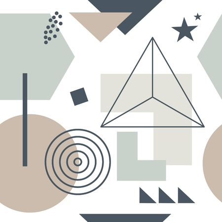 Abstract scandinavian geometric background. Modern vintage stylish bauhaus design for poster, cover, textile, web, wallpaper, backdrop, postcard design. Stock fotó - 131551790