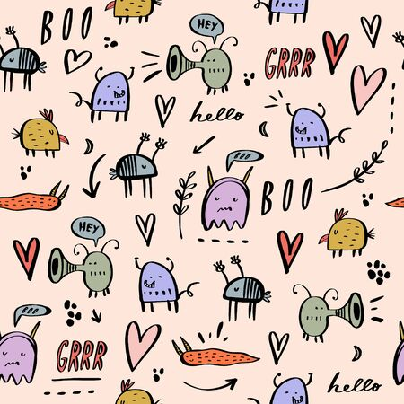 Nursery seamless pattern with cute monsters. Trendy childish scandinavian vector background. Good for kids apparel, textile, wrapping paper.