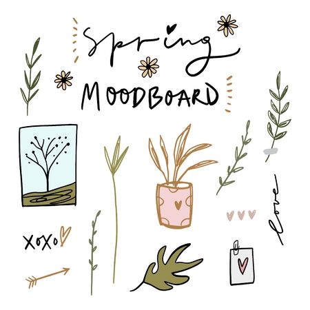 Spring mood board. Trendy decor elements, icons, hand drawn plants and postcards. Inspiration for home. Vector illustration.
