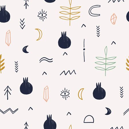 Hand drawn vector ethnic magic seamless pattern with moon, pomegranate, eyes and florals. Isolated elements.