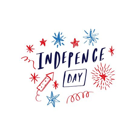 Doodle hand drawn lettering poster or card with shooting stars firework, celebrate USA holiday Independence day, fourth July. American flag colors. Congrats, 4th of July. Vector illustration.