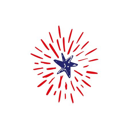 Doodle hand drawn shooting star firework, celebrate USA holiday Independence day, fourth July. American flag colors. Congrats, 4th of July. Vector illustration.
