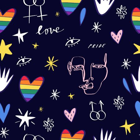 LGBT seamless pattern. Pride, love and peace lettering, rainbow hearts. Gay parade wallpaper. LGBTQ rights symbol. Background, textile fabric print. Vector illustration.