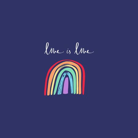Cute rainbow art, LGBT flag, Gay Pride and other social movements, print for poster, cards, t-shirts and more. Vector illustration. Love is love lettering. Reklamní fotografie